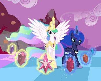 Celestia and Luna battles with Discord.jpg