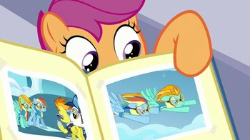 Scootaloo_points_to_photo_of_Rainbow_and_Lightning_Dust_S7E07.jpg